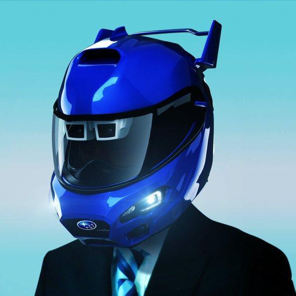 自動ブレーキなどの運転支援システムをビジネスマンの日常に適応させたヘルメット「アイサイト(ver.ビジネス)」(エイプリルフール向けのジョーク企画)