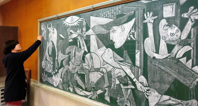 元教え子からのリクエストで模写したピカソの「ゲルニカ」。5日で完成した