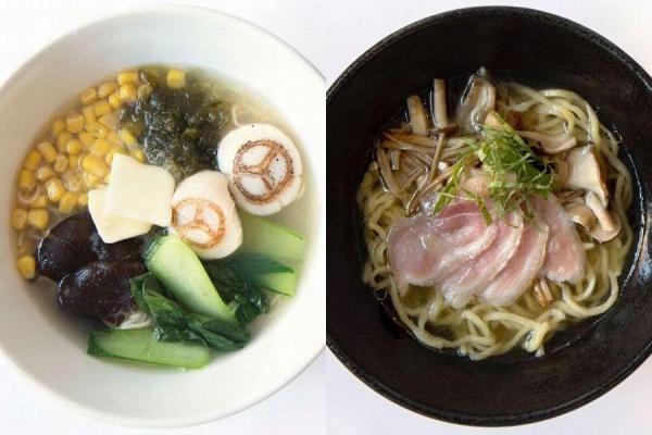 「海」の流星麺(左)と、「陸」の流星麺