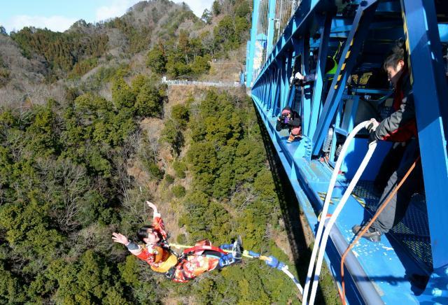 GoogleのCMで話題になった竜神大吊橋があるのも、茨城県だ=2015年1月10日、茨城県常陸太田市、関口聡撮影