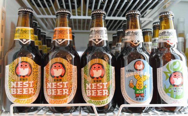 木内酒造の「常陸野ネストビール」=2015年1月10日、水戸市、羽場正浩撮影
