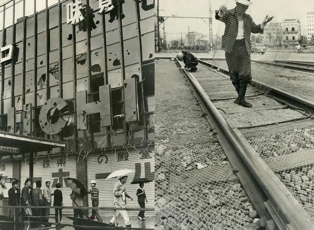 (左)暴徒の投石などで割れたパチンコ店の窓ガラス=1966年(右)投石用の石を持ち去られないように、南海電鉄の線路に張られた金網=1967年、いずれも大阪市西成区