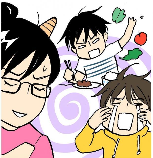 野菜を食べない次男(奥)を叱るとなぜか長男(右)が……=絵・二ノ宮知子さん