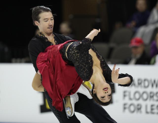 スケートアメリカアイスダンスで8位の村元哉中、クリス・リード組のフリーの演技=2016年10月、遠藤啓生撮影