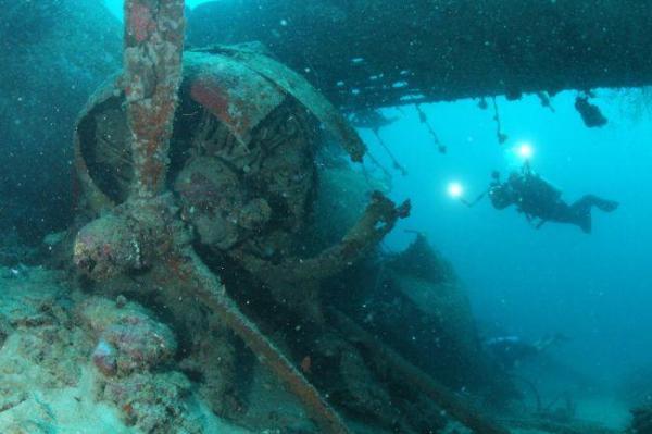 アメリカ軍の飛行艇「カタリナ」のエンジンとプロペラ部分=9月4日、ソロモン諸島・ツラギ島沖、橋本弦撮影