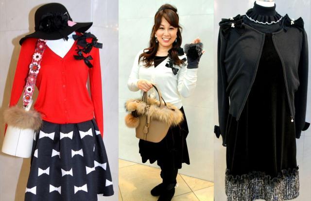 (左から)名古屋のショップ「ラブリー」の洋服やバッグ、リボンやふわふわ素材がふんだんに使われたコーディネート、名古屋のショップ「Amin by w.a」の洋服