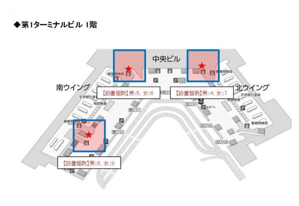 成田空港内でスマホ用トイレットペーパーが設置されている場所(2017年3月15日までの期間限定)