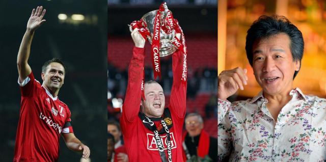 元代表のマイケル・オーウェンさん(左)=ロイター=、馬主としても有名なサッカー・イングランド代表のFWウェイン・ルーニー選手(中)=ロイター=、演歌歌手の前川清さん(右)