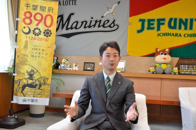 インタビューに答える熊谷俊人・千葉市長=千葉市中央区