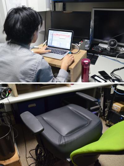 座席の微妙な振動を調整するスペース。いすの上に振動する機材を置いている