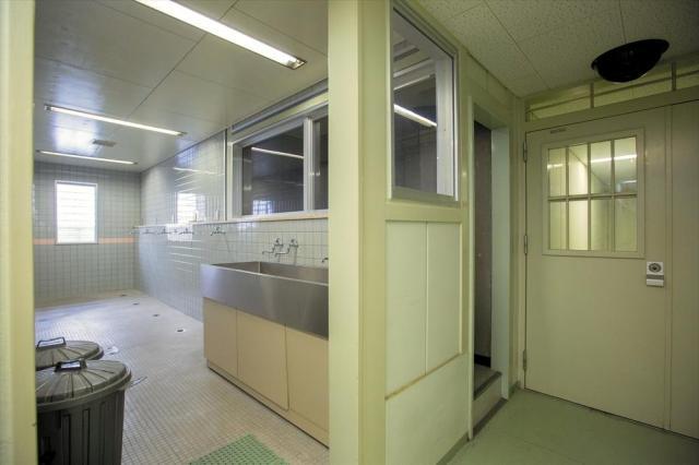 大村入国管理センター内にある、洗濯などができる空間(左)と、廊下に通じる扉(右)=長崎県大村市、鬼室黎撮影