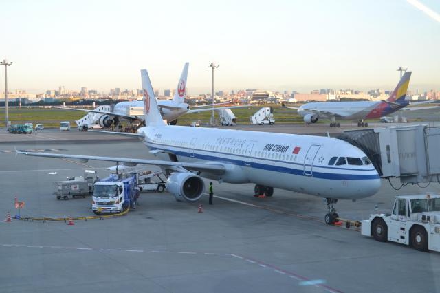 ふたりが乗った中国国際航空の飛行機。北京経由でアメリカへ