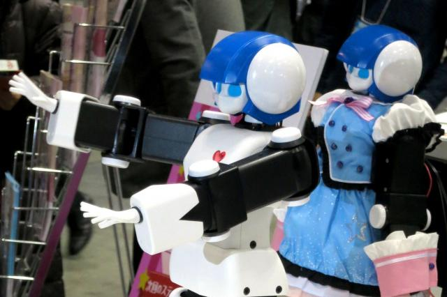「DMM.com」のロボット事業部が予約販売中の卓上ロボットアイドル「プリメイドAI」(税抜き13万8千円)。アイドルの曲の振り付けをコピーする「振りコピ」ができる=東京都江東区
