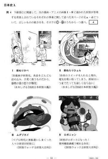 妖怪ウォッチのイラストが登場した日本史Aの問題