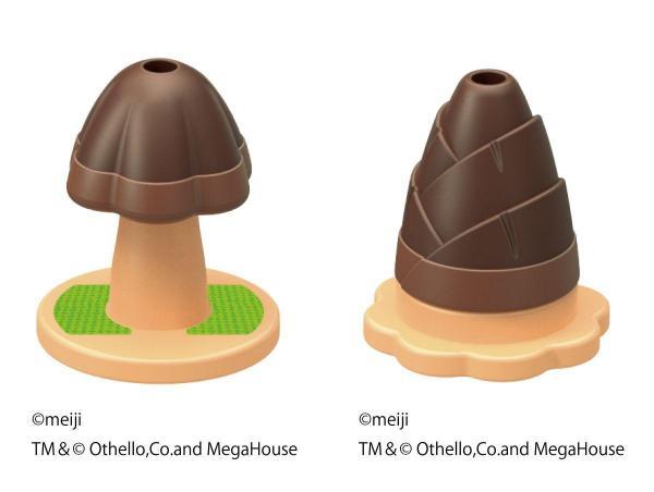 「きのこの山」と「たけのこの里」がオセロになった「きのこの山 VS たけのこの里 オセロ ゲーム3」  (C)meiji TM&(C)othello,Co.and MegaHouse
