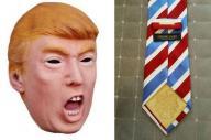 トランプ氏のブランドのネクタイとマスク。ネクタイは118万円の値がついた