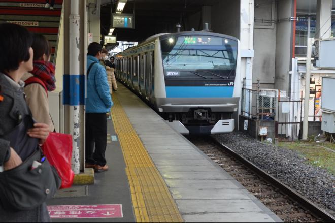 盲導犬を連れた男性が転落したJR蕨駅ホーム=2017年1月14日
