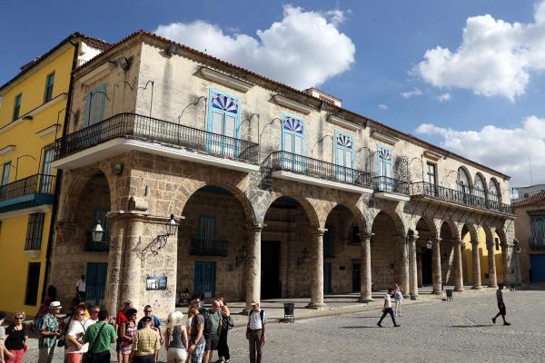 コロニアル様式の建物が並ぶハバナの旧市街=2016年12月5日