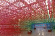 国立新美術館で開催中の「数字の森」=佐藤正人撮影