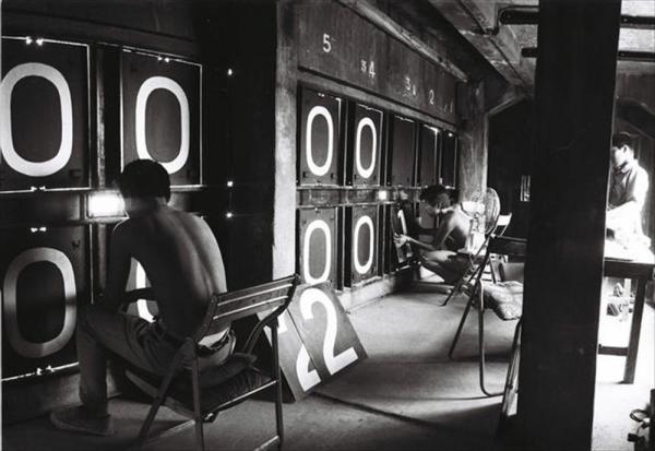 1973年のスコアボードの裏側の点数板