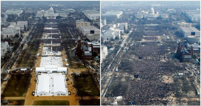 大統領就任式の観客について、トランプ氏(2017年、左写真)とオバマ氏(2009年)を比較した写真。観客数がオバマ氏と比べて少ないことが分かる。