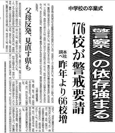 776校もの中学校が、卒業式で警察の警戒を要請しているという記事(1983年3月17日夕刊)
