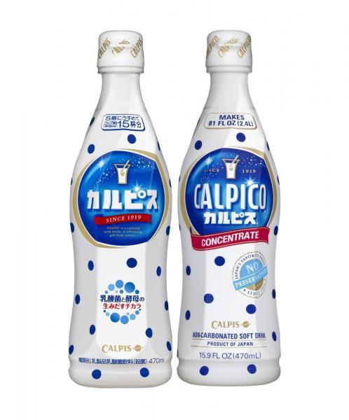 「カルピス」(左)と、アメリカなどで販売されている「カルピコ」