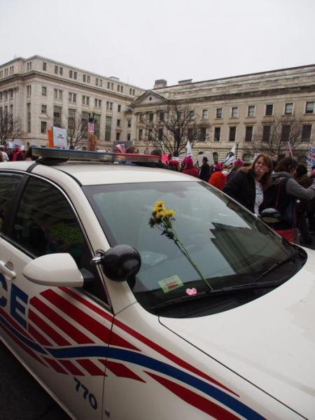 パトカーに飾られた花