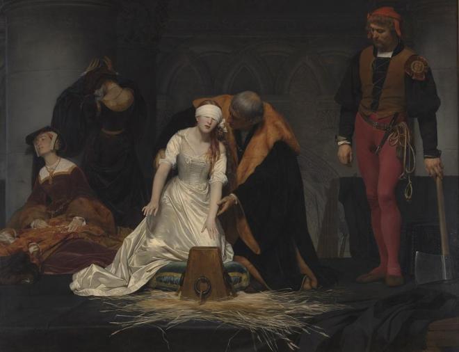 ポール・ドラローシュ「レディ・ジェーン・グレイの処刑」=1833年 油彩・カンヴァス ロンドン・ナショナルギャラリー蔵 (c)The National Gallery, London. Bequeathed by the Second Lord Cheylesmore, 1902
