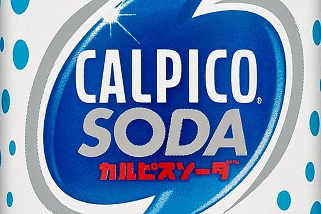 アメリカで販売されているカルピスソーダ。英字は「CALPICO」だ