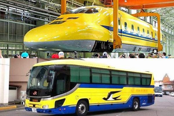 「本家」ドクターイエロー(上)と、ジェイアール東海バスが導入した訓練用車両