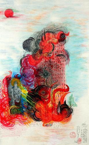 炎に包まれる世界貿易センタービルを描いた絵=(c)Jimmy Tsutomu Mirikitani
