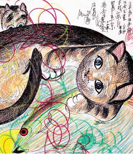 ジミー・ミリキタニさんが描いた猫=(c)Jimmy Tsutomu Mirikitani
