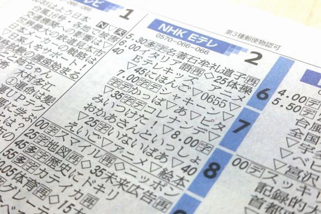 2016年9月21日(水)の朝日新聞テレビ欄。Eテレは略称が多く、「いないいないばあっ!」は「いないばあ」と略されている