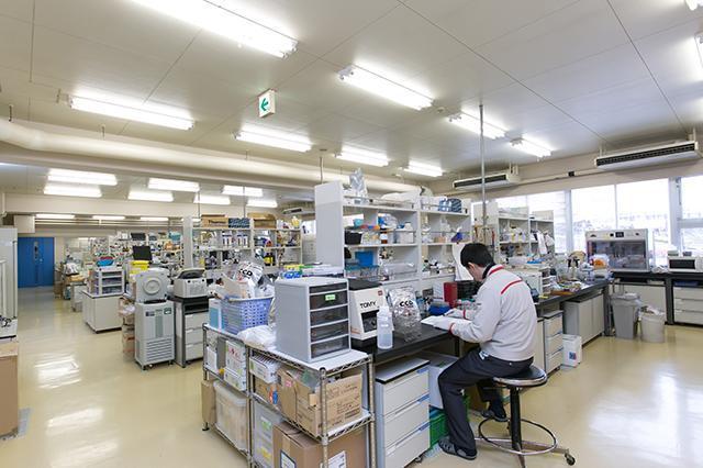 研究所の一室。約40人の研究員が所属し、「バイオグリコーゲン」「リン酸化オリゴ糖カルシウム(POs-Ca)」「ビフィズス菌BifiX」などの新素材を開発した