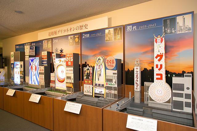 江崎記念館(大阪)にある、歴代グリコサインのジオラマ。33mのネオン塔に続き、二代目は演奏会や漫談が開催できるステージ付き、三代目は12トンの水が噴き出し、12色のランプで照らされるという斬新なデザイン、陸上競技場のトラックが背景のおなじみのデザインになったのは4代目からだ