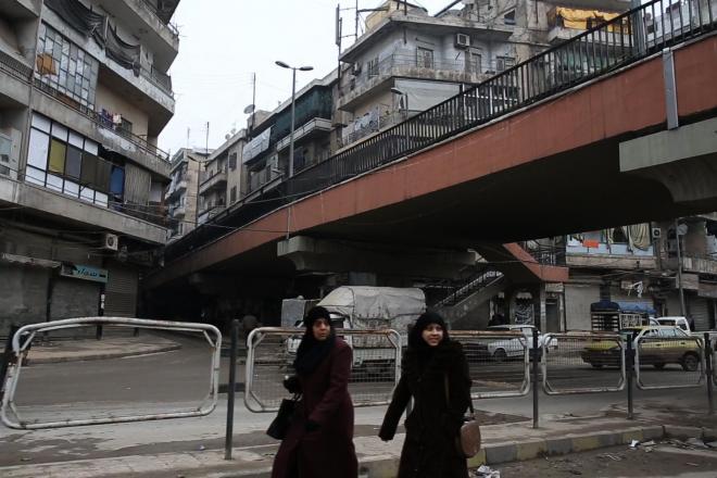 よく見る町中の陸橋。これが政府側と反体制派の支配地域を分ける「境界」だった