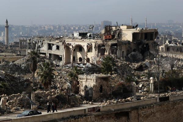 空爆や砲撃で破壊された旧市街の町並み=2017年1月10日、シリア・アレッポ、矢木隆晴撮影