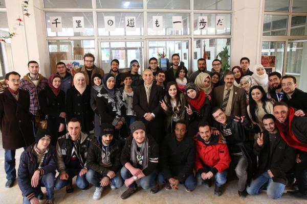 現在約60人の学生が日本語を学んでいるという=2017年1月11日、シリア・アレッポ、矢木隆晴撮影