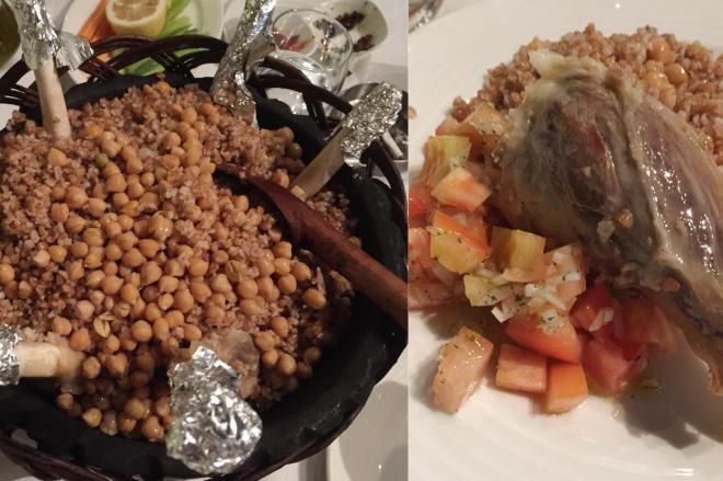 ダマスカス旧市街の名門レストランにて。羊の骨付き肉と穀物を炊いたもの。中東地域では同様の料理があるそうです