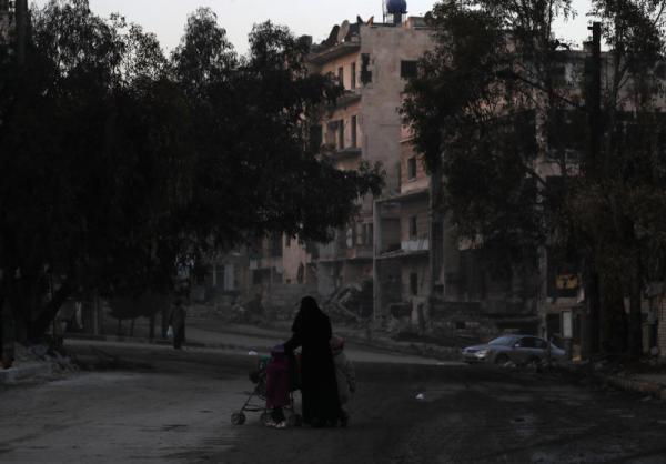 反体制派が最後まで抵抗を続けたザブディーヤ地区=2017年1月11日、シリア・アレッポ、矢木隆晴撮影