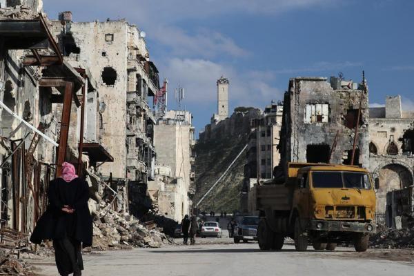 激しく破壊された旧市街の町並み=2017年1月10日、シリア・アレッポ、矢木隆晴撮影