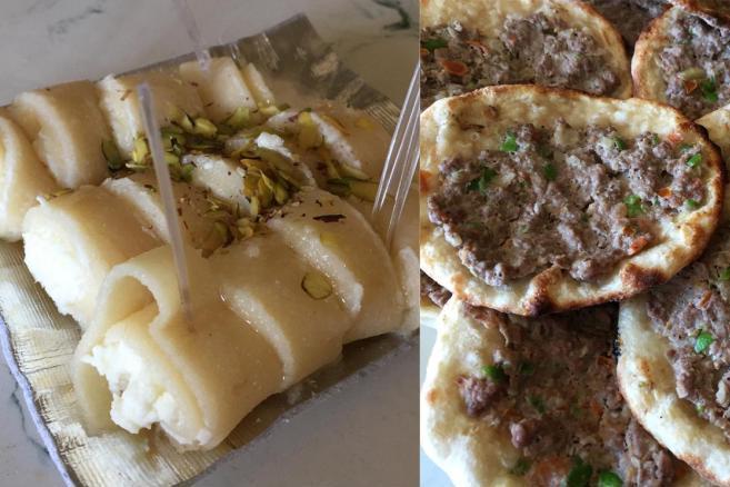 ドライブインで食べた「ハラワ」と呼ばれるスイーツ。右は薄い生地に挽き肉をのせて焼いた物。ピザのような感じ