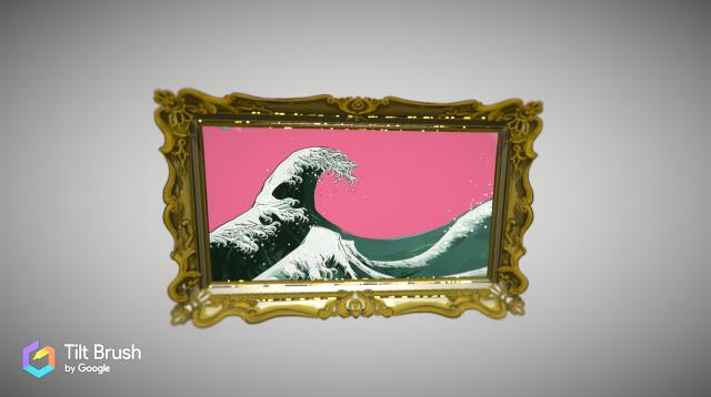 一見すると普通の波を描いた絵に見えるが…