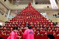 片付けが大変そうな高さ7メートルのピラミッドひな壇=2017年2月16日、埼玉県鴻巣市、西畑志朗撮影