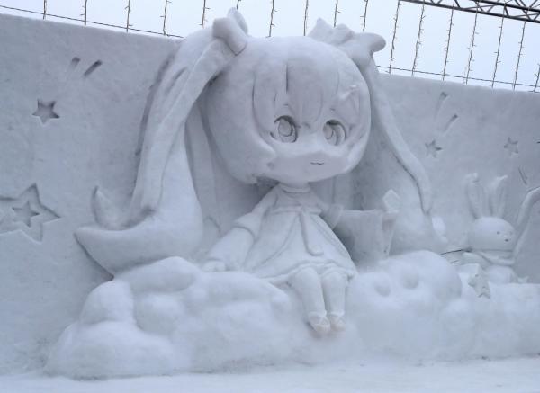 さっぽろ雪まつりに登場した雪ミク(初音ミク)Twinkle Snow Ver(C)Crypton Future Media,INC.=2017年2月
