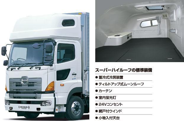 日野自動車のオプション装備「スーパーハイルーフ」