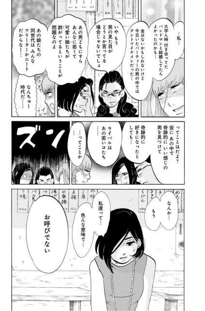 婚活パーティーで若い女性たちを目にし、いつもの居酒屋に退散=(C)東村アキコ/講談社