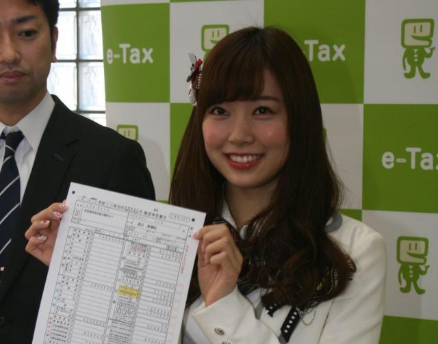 確定申告のPRをする渡辺美優紀さん(2016年)