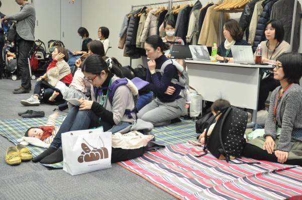「#保育園に入りたい! を本気で語ろう。」のイベントには、赤ちゃんが遊べるマットもあった=2017年3月7日、東京都千代田区の衆議院第2議員会館